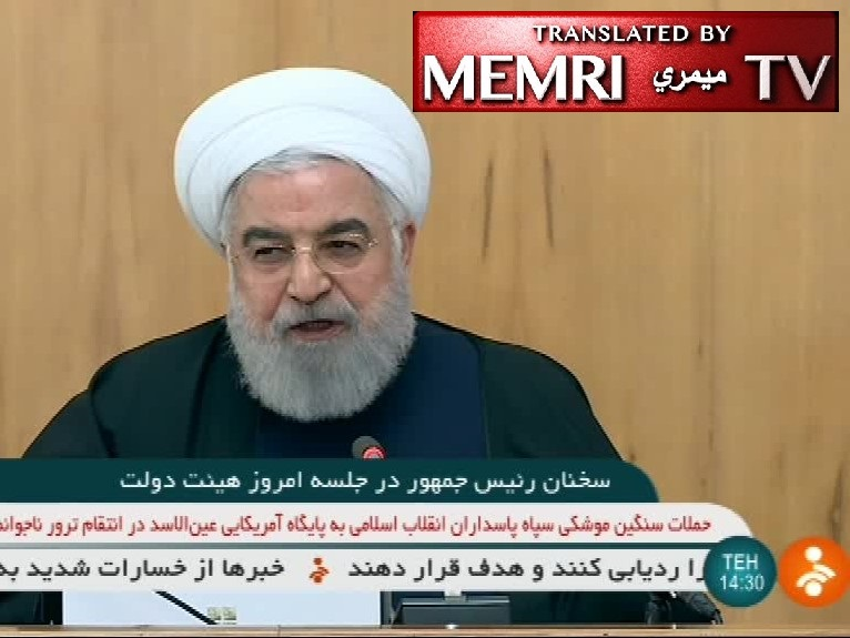 "Iranian President Hassan Rouhani: Iran's Nuclear Industries Will Prosper in the Coming Years; American's ""leg"" and ""hand"" will be cut off from the region; PMU, Hizbullah, Houthis are Not Iranian Proxies"